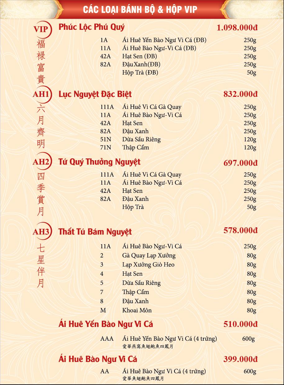 Bảng giá bánh trung thu