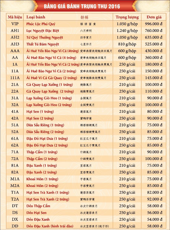 Bảng Giá Bánh Trung Thu Ái Huê 2016